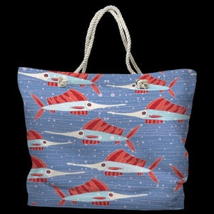 Sailfish School Coral Tote Bag with Nautical Rope Handles
