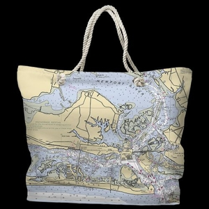 NC: Morehead City, NC Water-Repellent Nautical Chart Tote Bag