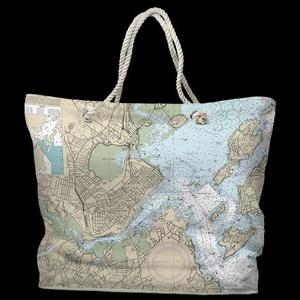 ME: Portland, ME Water-Repellent Nautical Chart Tote Bag