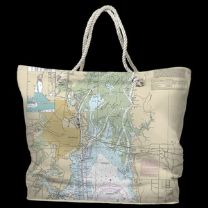 AL: Mobile, AL Water-Repellent Nautical Chart Tote Bag