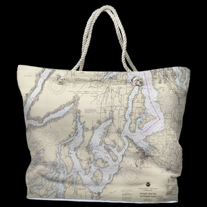 WA: Puget Sound Southern, WA Water-Repellent Nautical Chart Tote Bag