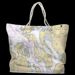 WA: Puget Sound Northern, WA Water-Repellent Nautical Chart Tote Bag