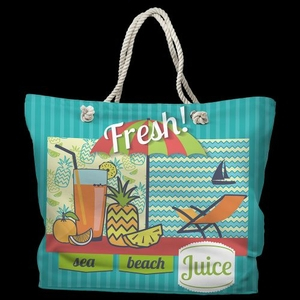 Fresh Juice Tote Bag with Nautical Rope Handles