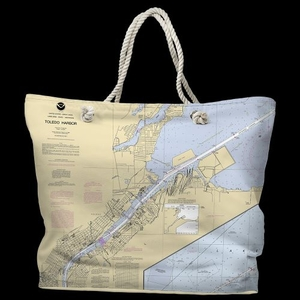 OH: Toledo Harbor, OH Water-Repellent Nautical Chart Tote Bag