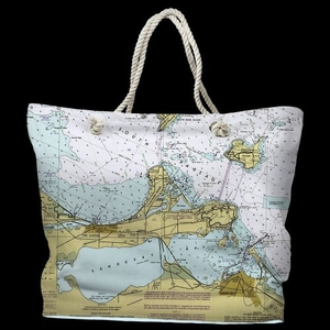 OH: Port Clinton, Catawba Island, Sandusky, OH Water-Repellent Nautical Chart Tote Bag