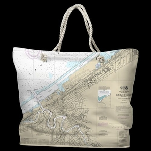 OH: Cleveland Harbor, OH Water-Repellent Nautical Chart Tote Bag