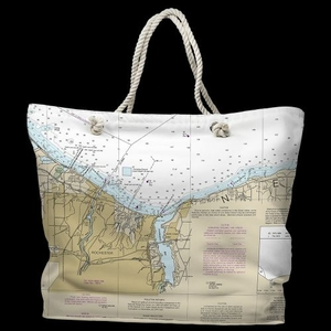 NY: Rochester, NY Water-Repellent Nautical Chart Tote Bag