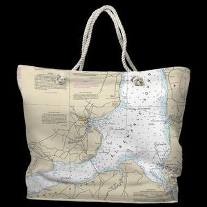 NC: Edenton, NC Water-Repellent Nautical Chart Tote Bag