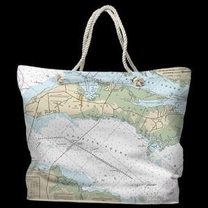 NC: Roanoke Island, NC Water-Repellent Nautical Chart Tote Bag