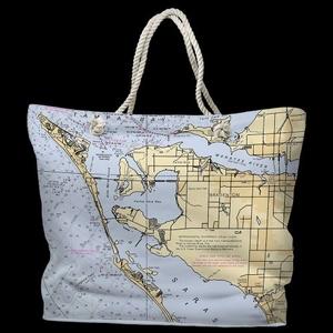 FL: Bradenton, FL Water-Repellent Nautical Chart Tote Bag