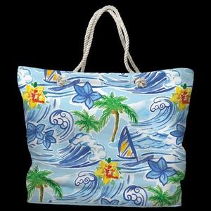 Hawaiian Surf Tote Bag with Nautical Rope Handles