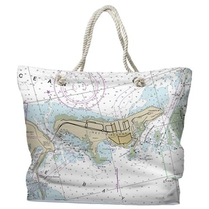FL: Key Biscayne, FL Water-Repellent Nautical Chart Tote Bag