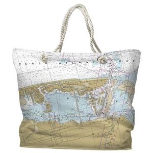 FL: Miami Beach, FL Water-Repellent Nautical Chart Tote Bag