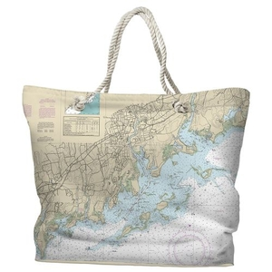 CT: Norwalk, CT Water-Repellent Nautical Chart Tote Bag