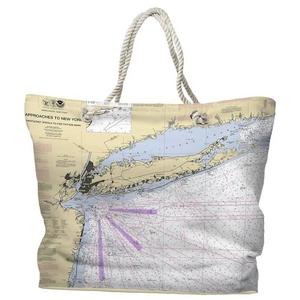 NY: Long Island, NY Water-Repellent Nautical Chart Tote Bag