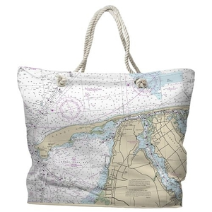 NJ: Sandy Hook, NJ Water-Repellent Nautical Chart Tote Bag