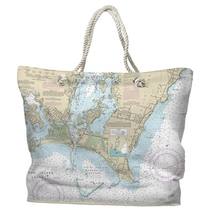 RI: Point Judith Harbor, RI Water-Repellent Nautical Chart Tote Bag