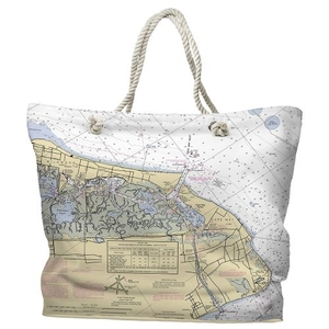 NJ: Cape May, NJ Water-Repellent Nautical Chart Tote Bag