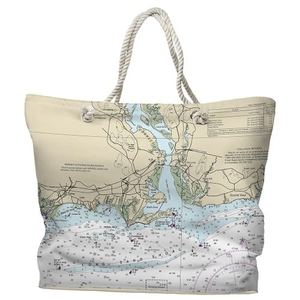 CT: Old Saybrook, Old Lyme, CT Water-Repellent Nautical Chart Tote Bag