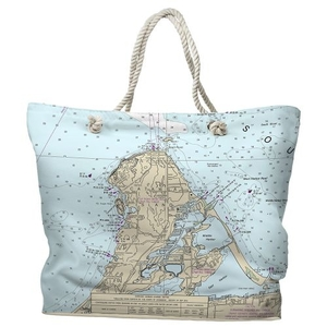 OH: Catawba Island, OH Water-Repellent Nautical Chart Tote Bag