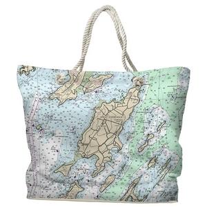 ME: Chebeague Island, ME Water-Repellent Nautical Chart Tote Bag