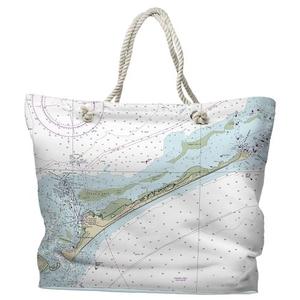 NC: Ocracoke Island, NC Water-Repellent Nautical Chart Tote Bag