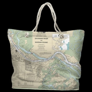 GA: Savannah, GA Water-Repellent Nautical Chart Tote Bag
