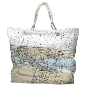 FL: Vero Beach, FL Water-Repellent Nautical Chart Tote Bag