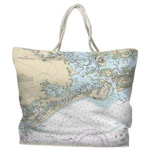 FL: Estero Island, FL Water-Repellent Nautical Chart Tote Bag