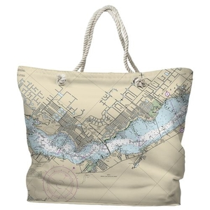FL: Cape Coral, FL Water-Repellent Nautical Chart Tote Bag