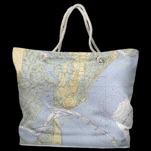 GA: Saint Simons Island, GA Water-Repellent Nautical Chart Tote Bag