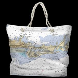 FL: Key Colony Beach Marathon, FL Water-Repellent Nautical Chart Tote Bag