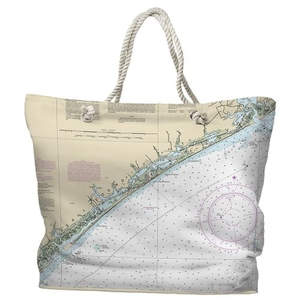 NC: Topsail Island, NC Water-Repellent Nautical Chart Tote Bag