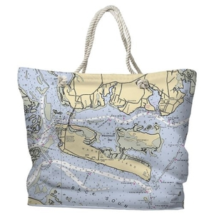 NC: Harkers Island, NC Water-Repellent Nautical Chart Tote Bag