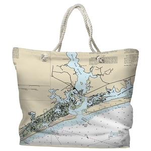 NC: Swansboro, NC Water-Repellent Nautical Chart Tote Bag
