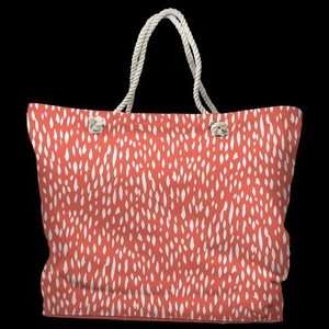 Hipster Coral Tote Bag with Nautical Rope Handles