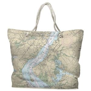 DE: Wilmington, DE Water-Repellent Nautical Chart Tote Bag