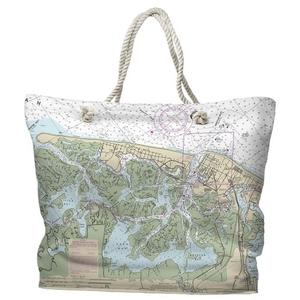 NJ: Brigantine, Atlantic City, NJ Water-Repellent Nautical Chart Tote Bag