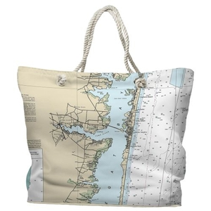 NJ: Toms River, NJ Water-Repellent Nautical Chart Tote Bag