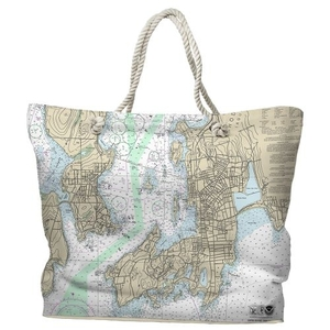 RI: Newport, RI Water-Repellent Nautical Chart Tote Bag