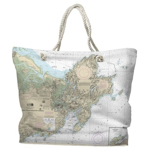 MA: Cape Ann, MA Water-Repellent Nautical Chart Tote Bag