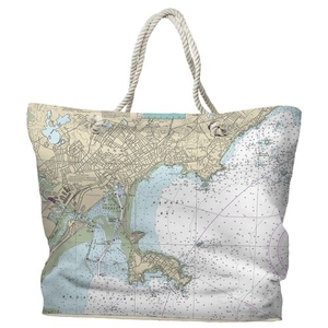MA: Lynn, Nahant, MA Water-Repellent Nautical Chart Tote Bag