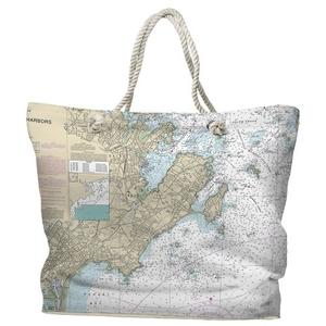 MA: Marblehead, Salem, MA Water-Repellent Nautical Chart Tote Bag