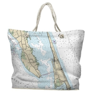 NC: Duck, Southern Shores, Kitty Hawk, NC Water-Repellent Nautical Chart Tote Bag