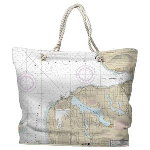 MI: Charlevoix, MI Water-Repellent Nautical Chart Tote Bag
