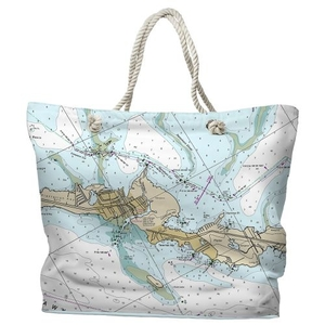 FL: Tavernier, FL Water-Repellent Nautical Chart Tote Bag