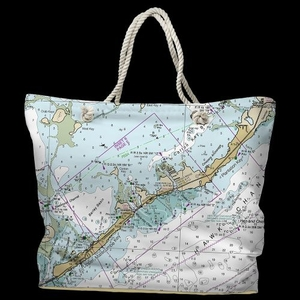 FL: Islamorada, FL Water-Repellent Nautical Chart Tote Bag