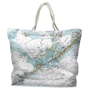 FL: Upper & Lower Matecumbe Key, FL Water-Repellent Nautical Chart Tote Bag