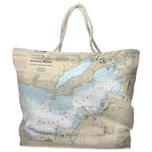 MI: Muskegon, MI Water-Repellent Nautical Chart Tote Bag