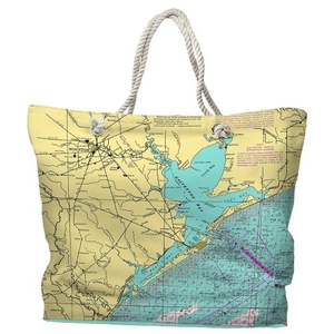 TX: Houston, Galveston Bay, TX Water-Repellent Nautical Chart Tote Bag